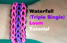 Loom Bands WATERFALL (TRIPLE SINGLE) Loom Bracelet Tutorial l JasmineStarler