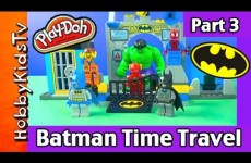 Batman Time Travel Part 3: Play-Doh Joker Smash! Spiderman, Emmet by HobbyKidsTV