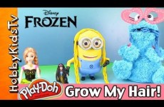 FROZEN Anna Makeover PLAY-DOH Hair! Cookie Monster Eats Braids! Snow White, Minion