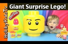 Giant PLAY-DOH Surprise LEGO Head! Toys, SpongeBob, PEPPA helps! HobbyKidsTV™