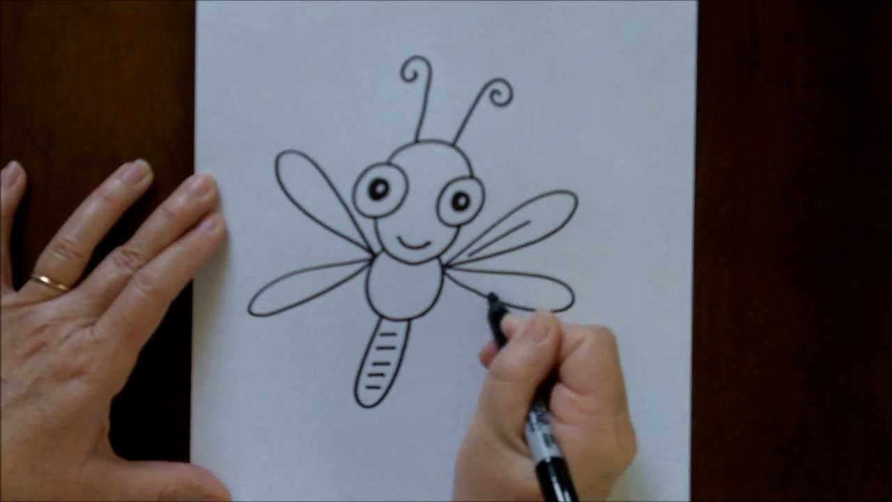 How To Draw A Cartoon Dragonfly Baby Easy Drawing Lesson For Children