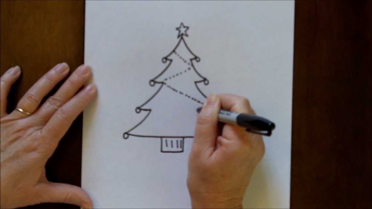 How To Draw A Christmas Tree Simple Drawing Tutorial For Beginners