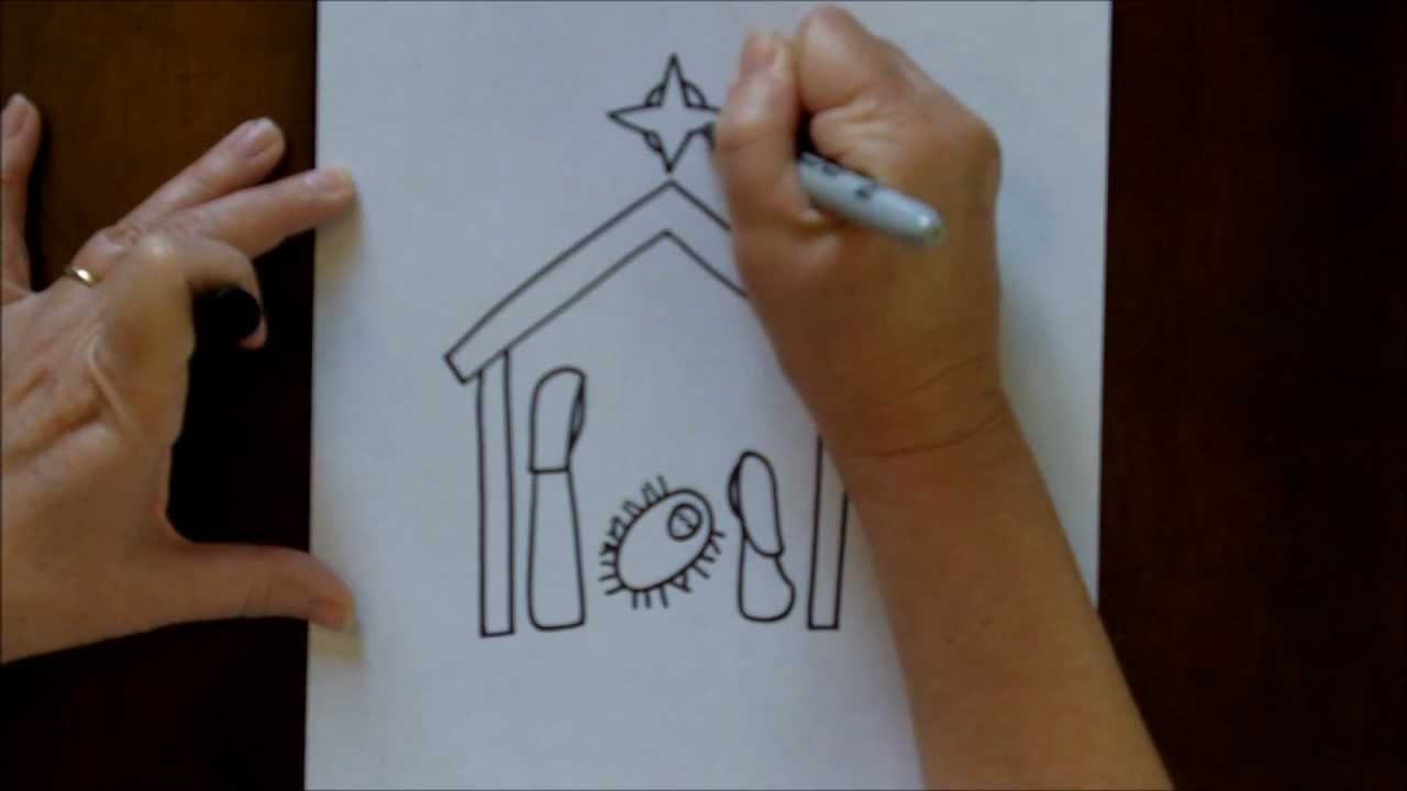 How To Draw A Nativity Scene Simple And Easy Drawing