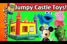 JUMPY CASTLE! Peppa Pig, Rex, Mickey Mouse, Cookie Monster, Olaf, Minion HobbyKidsTV