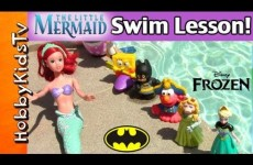 Little Mermaid Teaches Toys to Swim! Peppa, Elsa, Batman, Cookie Monster, Mickey Mouse