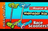 MONSTER Race! HobbyKid Scooter Kix at the Beach [Razor Jr] [KixiKids] by HobbyKidsTV™