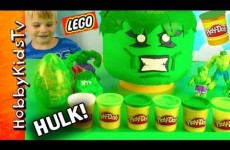 PLAY-DOH GIANT LEGO HEAD HULK Makeover Surprise Egg, Tow Mater Smash!!