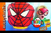 Play-Doh GIANT Lego Head SPIDER MAN Makeover! MARVEL Surprise Egg, BATMAN, LEGO EMMET HobbyKidsTV