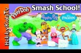 PLAY-DOH Surprise LEGO Bricks! Hulk Smash School! Frozen Elsa, Peppa, Minnie Mouse, Spongebob