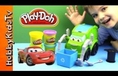 PLAY DOH Trash Tossin' Rowdy Garbage Truck Battles Lightning McQueen – Toy Review and Play