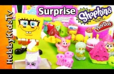 SpongeBob Shopkins! Squinkies, Cactus Kitties, Play-Doh Toy Eggs by HobbyKidsTV