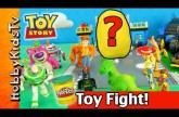 TOY STORY3 Box Open Battle! PLAY-DOH Surprise Golden Egg! Batman and Emmet Steal! SpiderMan Saves!