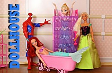 Barbie Dollhouse Frozen Elsa & Anna Dolls  Mansion Dollhouse Spiderman Ariel Merman DisneyCarToys
