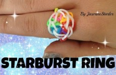 Loom bands STARBURST Ring (Original Method) Rainbow Loom Tutorial l JasmineStarler
