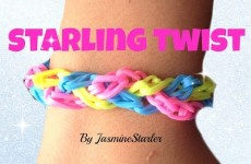 Loom bands STARLING TWIST (Original design) Rainbow Loom Bracelet Tutorial l JasmineStarler