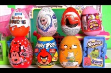 SURPRISE Eggs Kinder DisneyFrozenElsa Glitzi-Globes ❤ Shopkins Surprise Basket Minnie AngryBirds