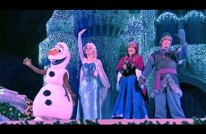 Frozen Holiday Wish castle lighting show debut – Elsa, Anna, Olaf, Kristoff at Walt Disney World