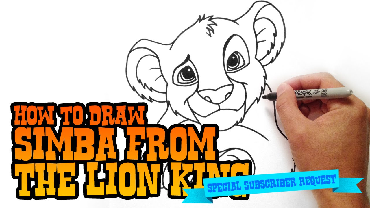 how to draw simba step by step