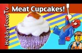 Meatloaf Cupcakes! Mashed Potato Topping + Spiderman, Emmet, HobbyKid Help by HobbyFoodTV