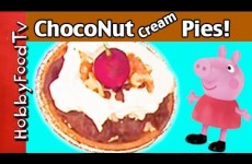 Mini ChocoNut Cream pies! Chocolate, Cream, Walnuts + Peppa Pig, Disney Minnie Mouse by HobbyFoodTV