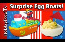 Surprise Stuffed Eggs! Deviled Egg Boats + Elmo on S.S. Sesame Street by HobbyFoodTV