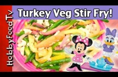 Vege Stir Fry w/Turkey + Minnie Mouse,Daisy Duck, Clarabelle Cow, Veggies HobbyMema by HobbyFoodTV