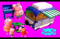 Peppa Pig Holiday Campervan Playset BBQ Picnic with Mommy Daddy George – Autocaravana Camper Van