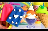 Play Doh Scoops 'n Treats Blueberry Popsicle, Mint Ice Cream Waffle & Vanilla Sundae with Frosting