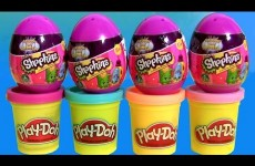 Shopkins Surprise Eggs Season 2 using Play Doh Unboxing Review Huevos Sorpresa with PlayDough
