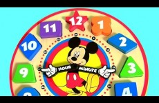 Learn Number Shapes Colors with Disney Mickey Mouse Clubhouse Wooden Clock Hands Baby Toy